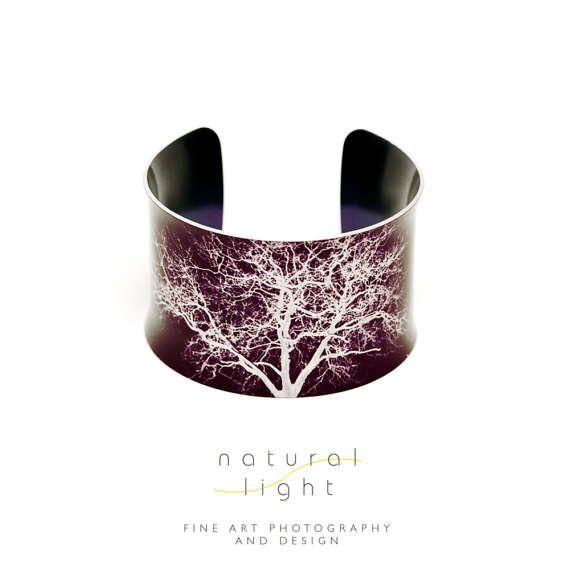 10th Anniversary Aluminum - Handmade Aluminium Cuff Bracelet - Jesus Green Trees Earth Brown - Anniversary Gifts - Bangle - Cuff - Trees