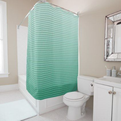Deep Teal Ombre Gingham Shower Curtain - classic gifts gift ideas diy custom unique
