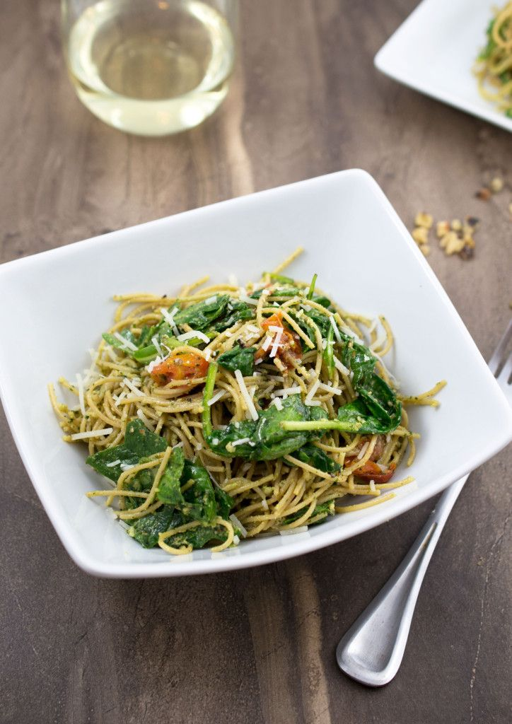 Walnut Pesto Pasta With Roasted Tomatoes and Wilted Greens