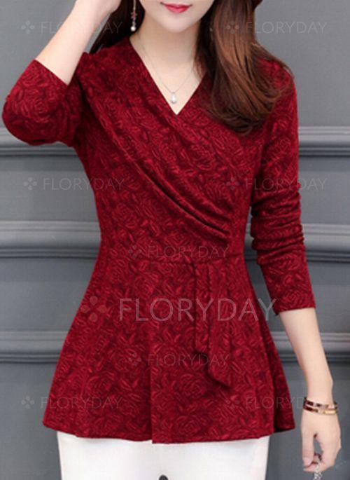 Blouses – $24.99 – Floral Elegant V-Neckline Long Sleeve Blouses (1645343958)