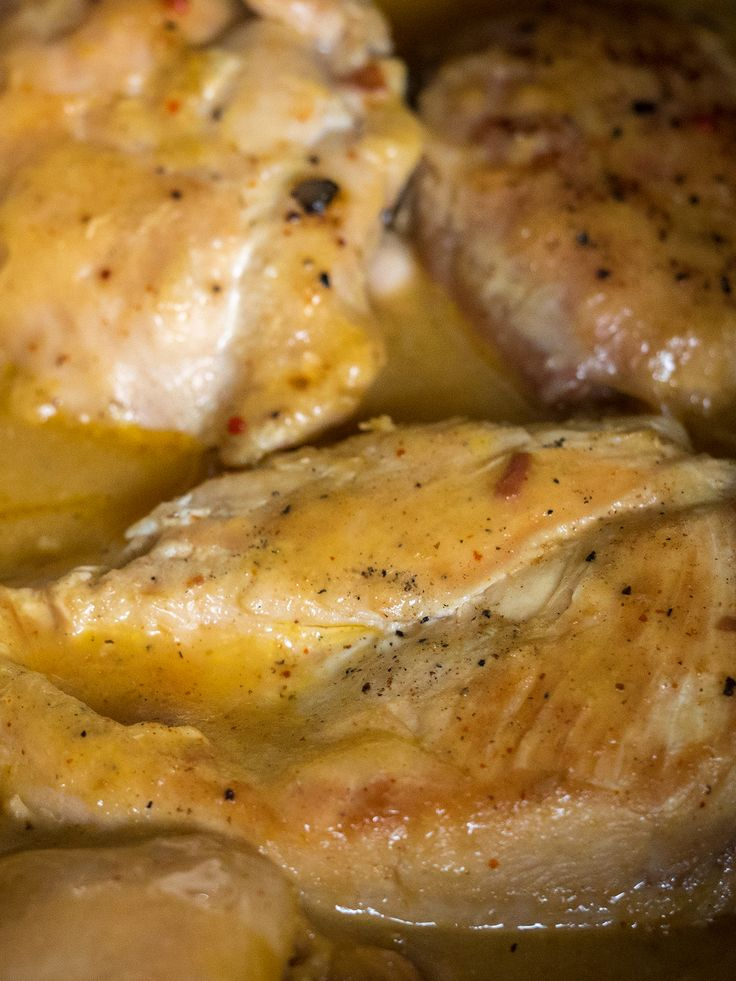 Slow Cooker Golden Chicken  8 assorted, boneless, skinless chicken pieces (we used breasts and thighs) 1 (10.75 oz.) can low-sodium cream of chicken soup 1 (1.2 oz.) package dry chicken gravy mix 1 (0.7 oz.) package dry Italian salad dressing mix 1/4 cup water or white wine