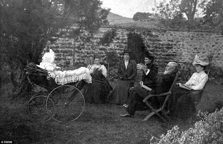 Sitting back: Lord Clanwilliams and his four daughters relax at Abergeldie Castle near Crathie, Aberdeenshire, in 1901