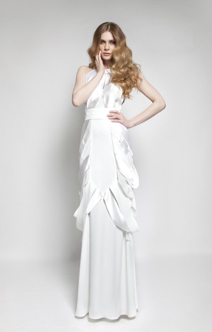 CHRISTOS COSTARELLOS AW 12-13 Crepe+Silk Satin Maxi Dress.