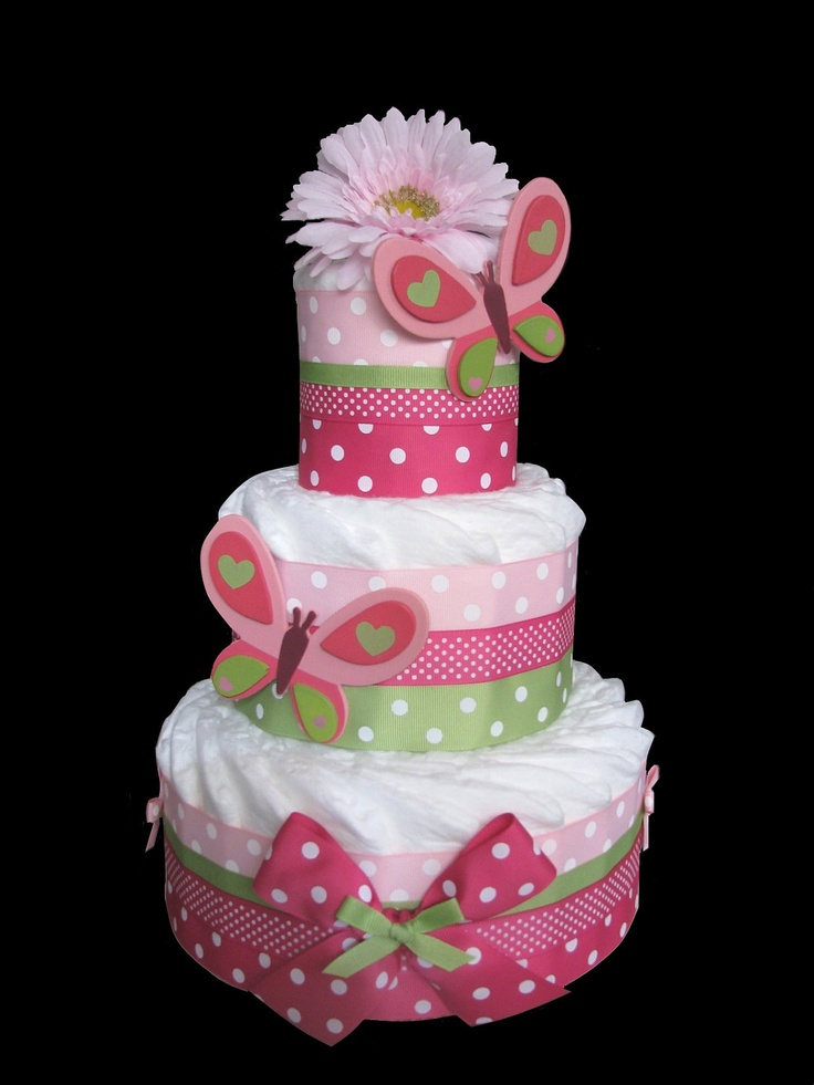 Baby Showers Nappy Cakes ~ Butterfly tier baby shower diaper cake