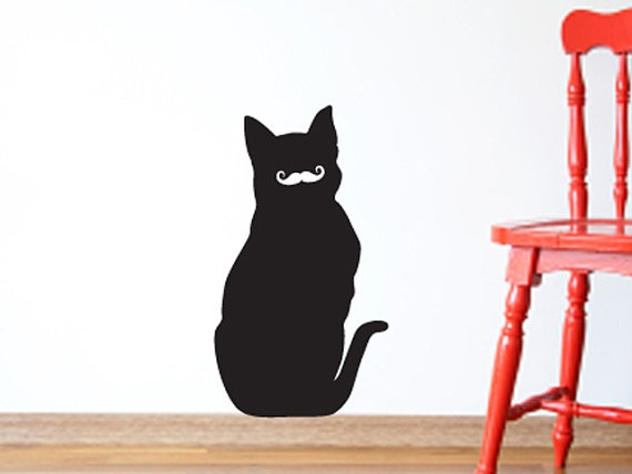 Superior Mustache Cat Wall Decal Forward Facing Cat With By ArtofVinyl, $18.00
