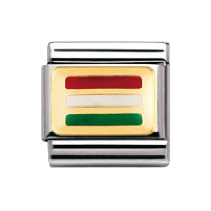 Nomination Composable Classic Flags of Europe Hungary Stainless Steel, Enamel and 18K Gold * More info could be found at the image url. #Charms
