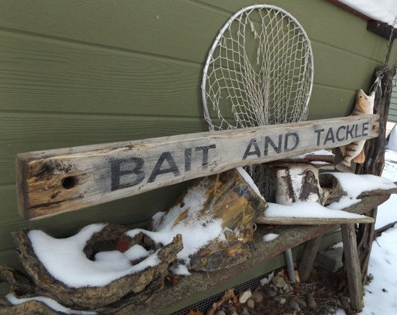 Wood Bait and Tackle Sign. Fishing Decor. Vintage Fishing
