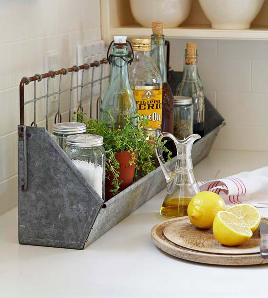 A sweet metal bin to corral kitchen goodies