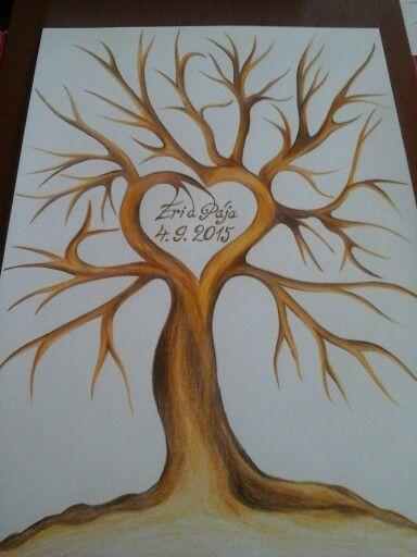Svatební strom pro kolegu - kresba