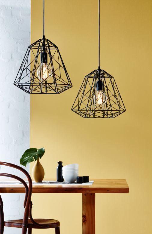 Open structure steel shade pendant light by Brilliant #bunnings #geometric #modern