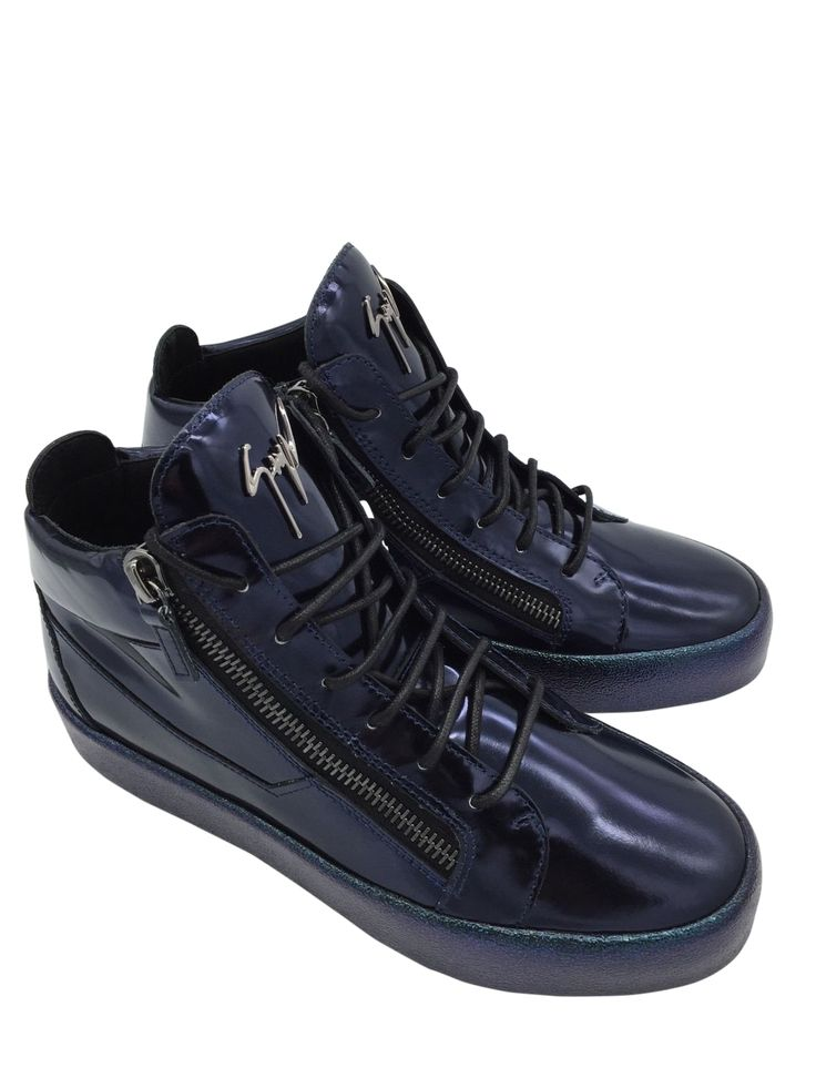 GIUSEPPE ZANOTTI DESIGN Zip Detail Hi-Top Sneakers VEGAS Blue