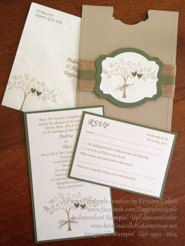 """""""Family tree"""" rustic country wedding invitation, matching RSVP postcard"""