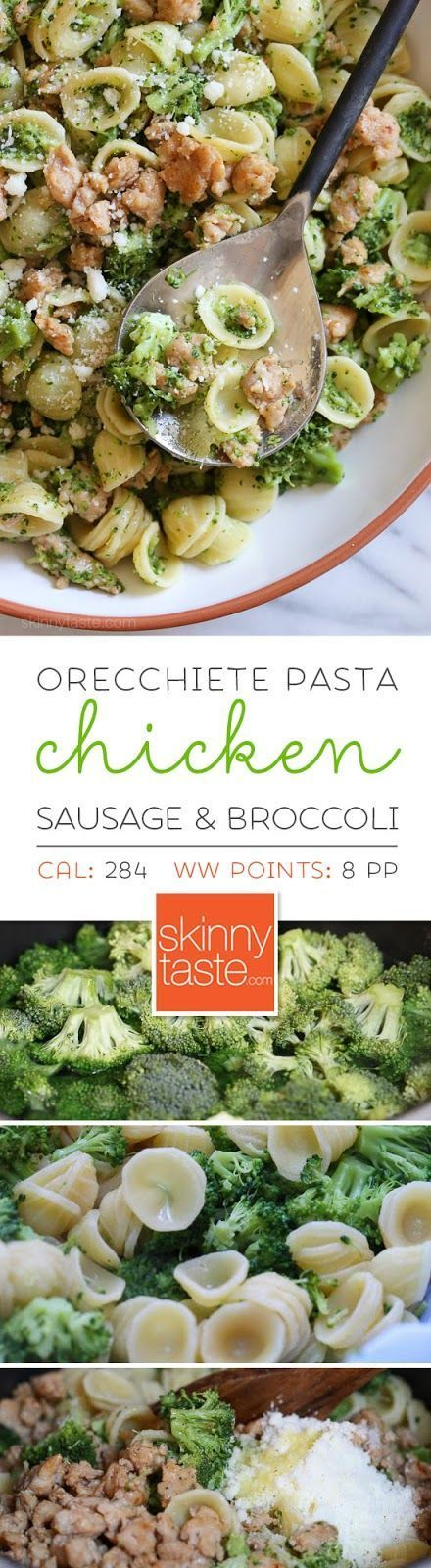 Orecchiette Pasta with Chicken Sausage and Broccoli-- don't overcook pasta-- package says 14 minutes, do 8-10