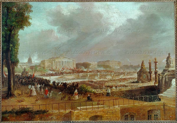 Champin,Jean Jacques.Proclamation of the Second French Republic on the Place de la Concorde,February 14,1848. Canvas
