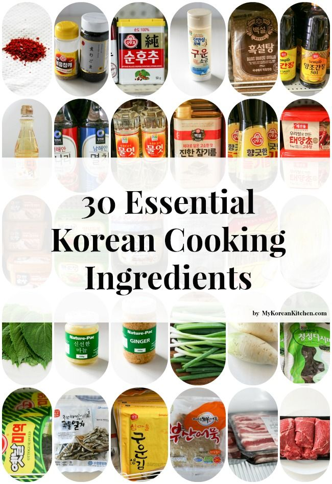A comprehensive list of 30 essential Korean cooking ingredients - Korean chili powder, Korean chili paste, Korean soybean paste and so much more! - From MyKoreanKitchen.com. Take with you to the Korean grocery store!