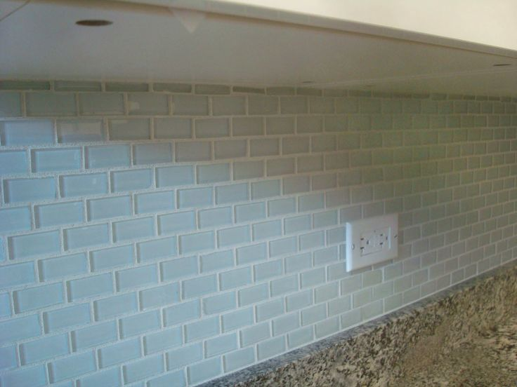 white 1x2 mini glass subway tile kitchen backsplash