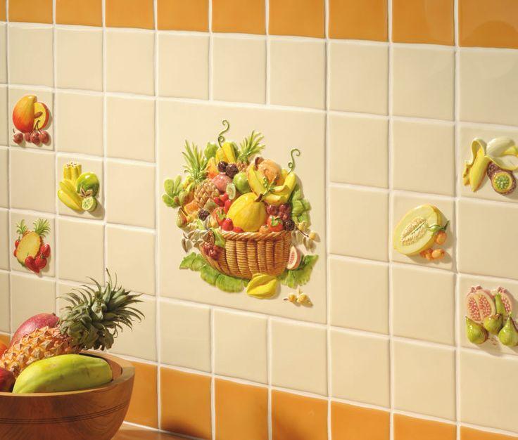 "Kitchen Tiles Fruits Vegetables 18 best la belle collection - 4"" hand-painted specialist kitchen"