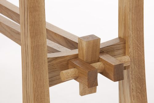 Detail of the wedge design, enabling the tables to be easily dismantled. James Harvey