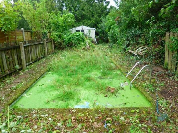 If the weather clears up later I might mow the pool... (credit: www.terriblerealestateagentphotos.com)