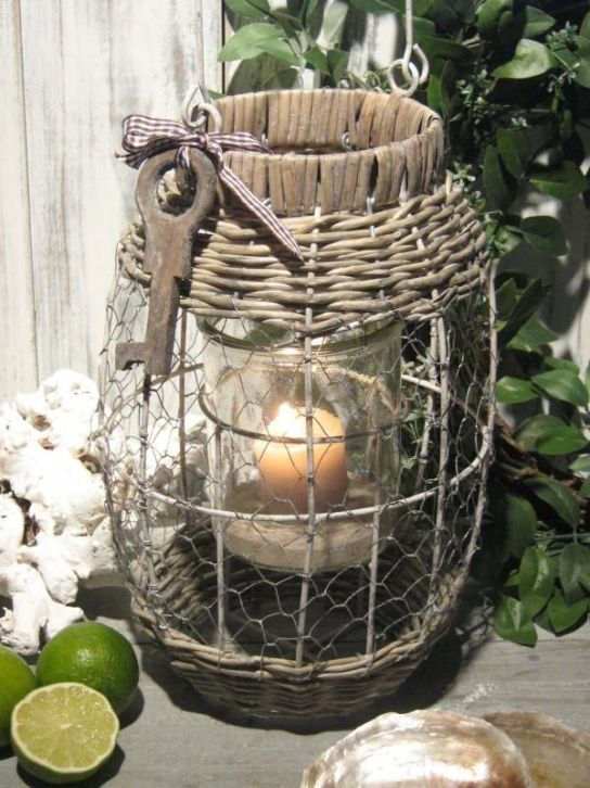 Interesting piece. Love the vintage key and the chicken wire.