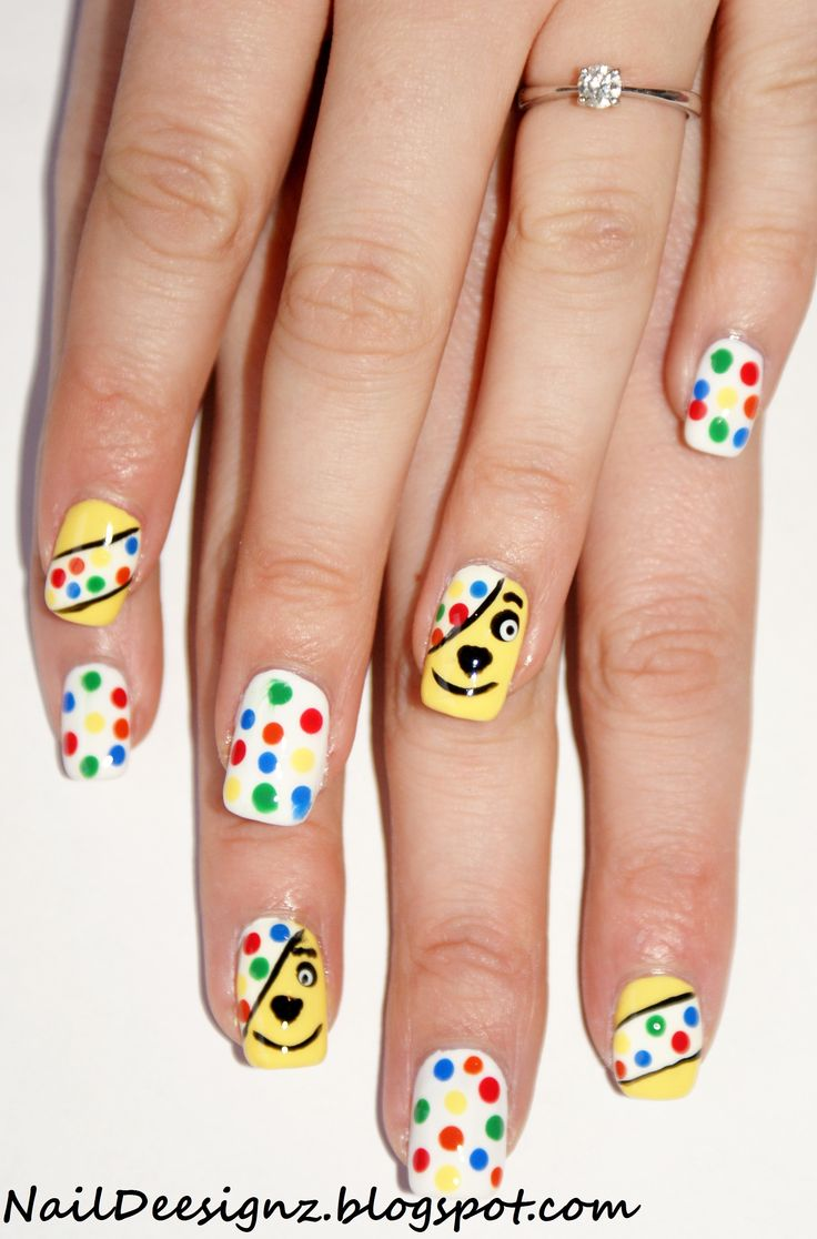 Children In Need Pudsey Bear Nail Art