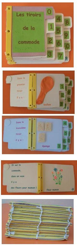 livre dans le tiroir de la commode : livre adapté tactilement pour apprendre à compter