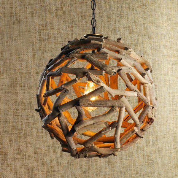 Les 25 meilleures id es de la cat gorie lustre en bois for Comment faire une lampe en bois flotte