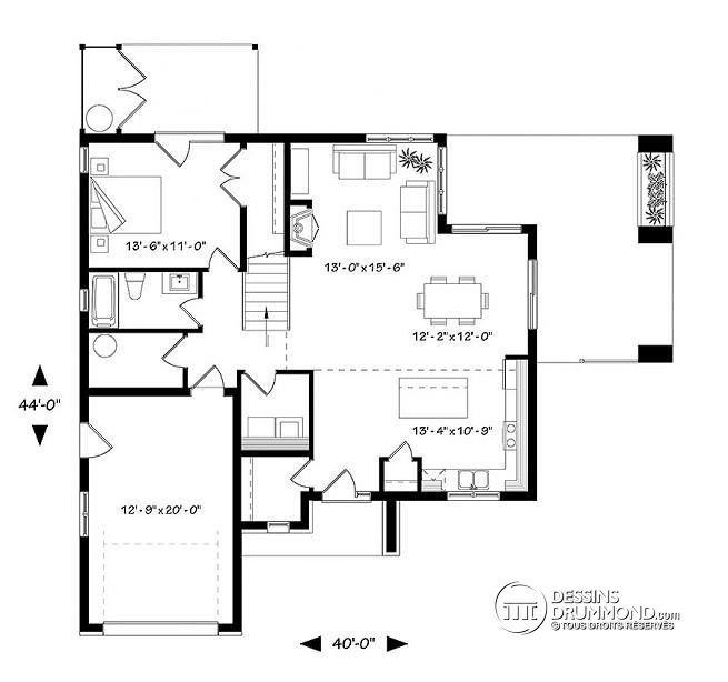 Plan de Rez-de-chaussée Maison saine permettant des panneaux solaires sur le toit, 2 terrasses, petite serre extérieure, 3-4 chambres - Azalée