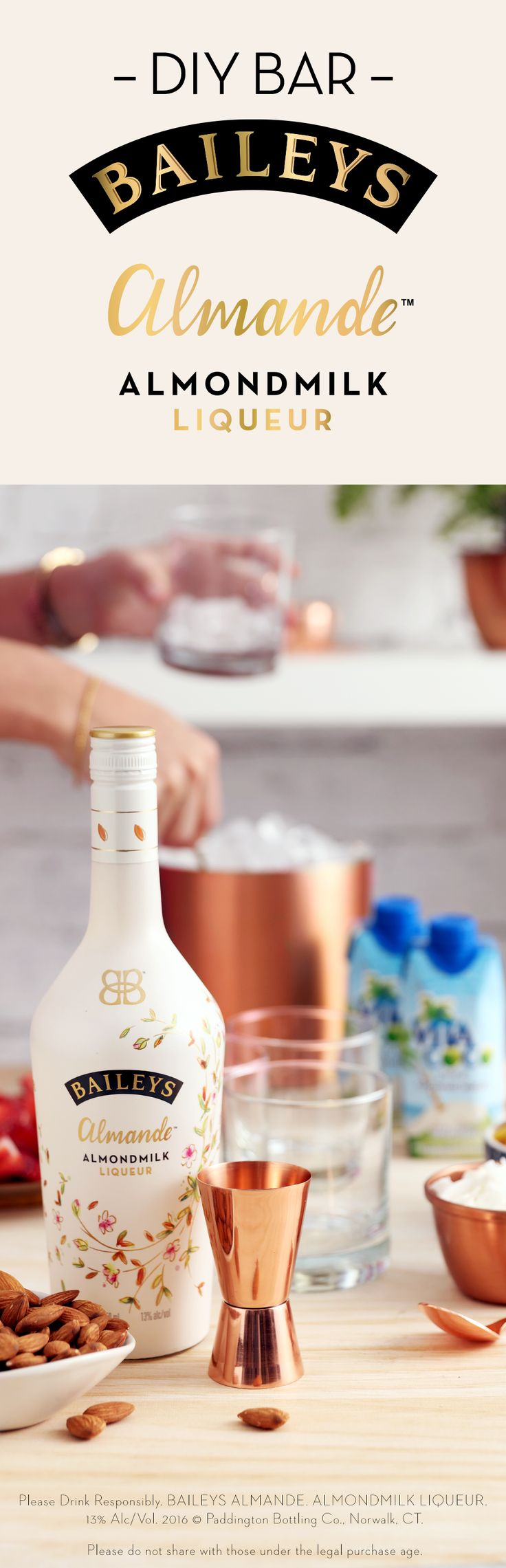 Hosting a summer party or brunch? New Baileys Almande™ is a deliciously light tasting, dairy-free and gluten-free almondmilk liqueur that's perfect for mixing fresh cocktails. Include Vita Coco Coconut Water and different fruit options so your guests will fall in love with the drinks at your DIY at-home bar!
