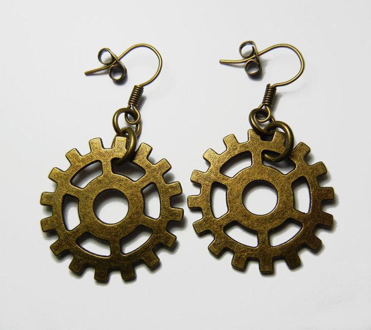 Bronze Gear Earrings - Steampunk Filigree Cog Gears Jewellery by FoxliciousDesign on Etsy