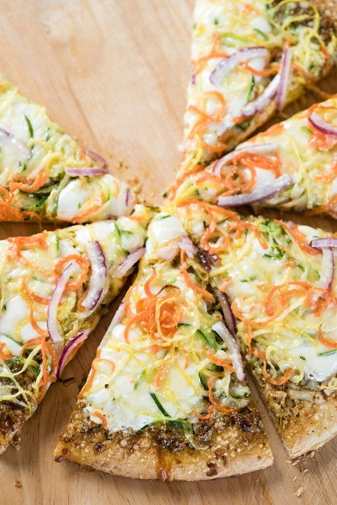 Spiralizer Veggie and Sun Dried Tomato Pesto Pizza