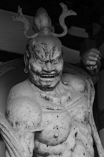 The Old Wooden Statue in Horyuji Temple #japan #nara