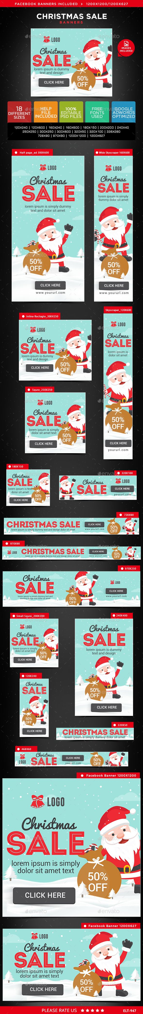 Christmas Sale Web Banners Template PSD #design #ad Download: http://graphicriver.net/item/christmas-sale-banners/14125756?ref=ksioks