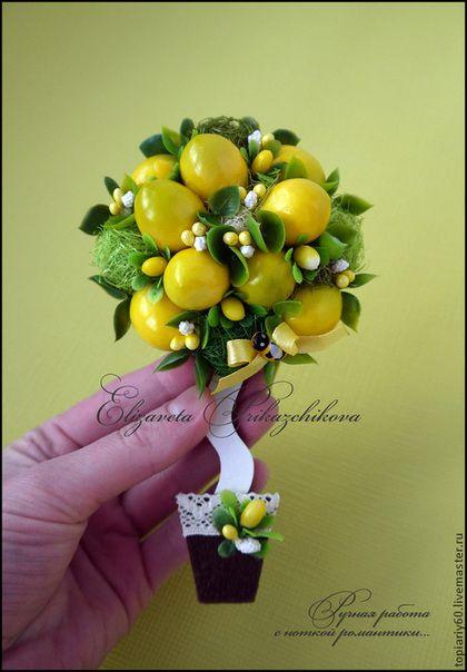 """Топиарии ручной работы. Ярмарка Мастеров - ручная работа. Купить Топиарий, деревце счастья, магнит на холодильник """"Лимончик"""". Handmade. Желтый"""
