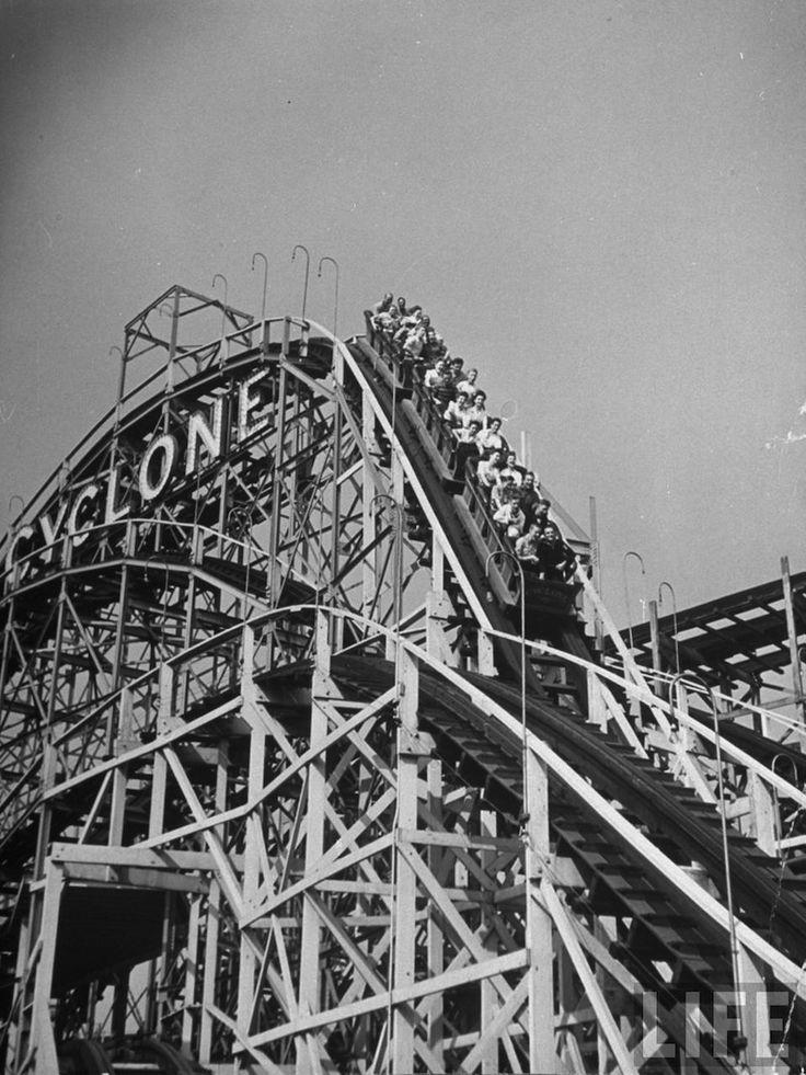 Cyclone roller coaster at Coney Island Amusement Park