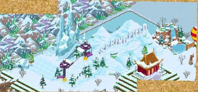 springfield sign - ski lift - palazzo di ghiaccio - cascata