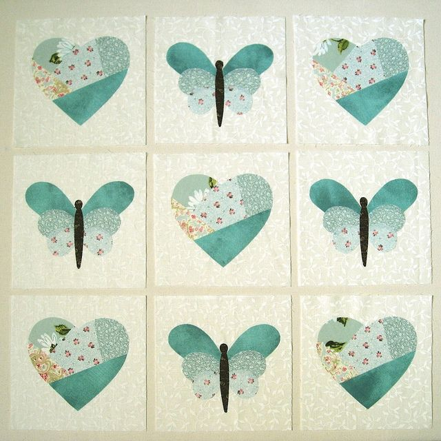 Hearts, butterflies in blue large, applique quilt block by jewlbal4, via Flickr