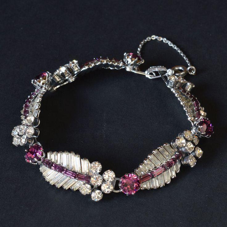 Vtg 1950s Norman Hartnell Amethyst Clear Baguette Rhinestone Diamante Bracelet | eBay