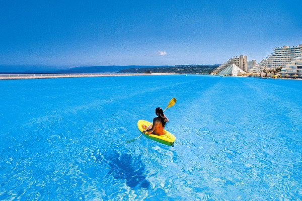 OMG!  This is a swimming pool lol.  Its the largest in the world.  It is in Algarrobo, Chile (San Alfonso del Mar Hotel)