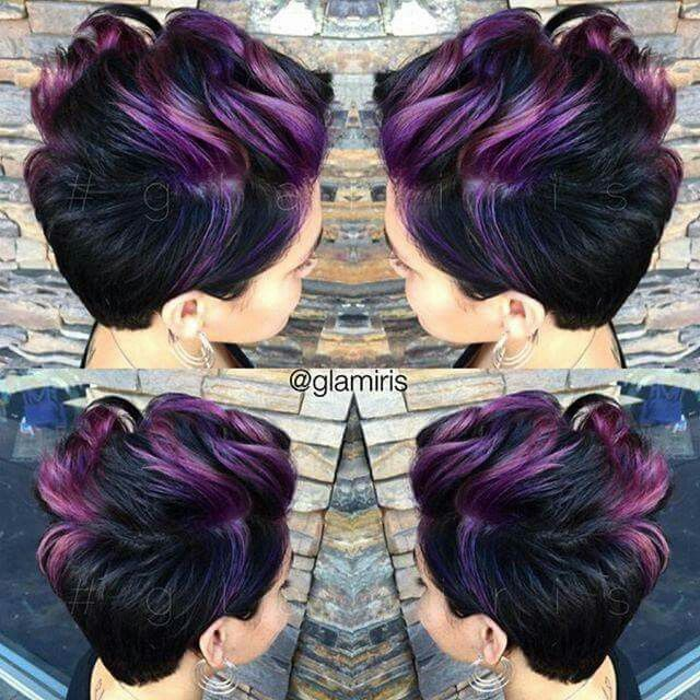 Purple hews with black hair short cut style