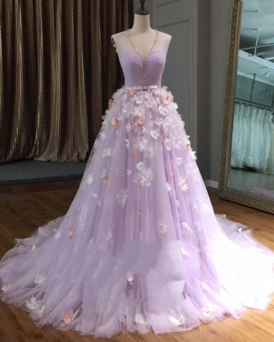 51852f926f2 Lavender tulle v neck long 3D flower lace long evening dress in 2019 ...