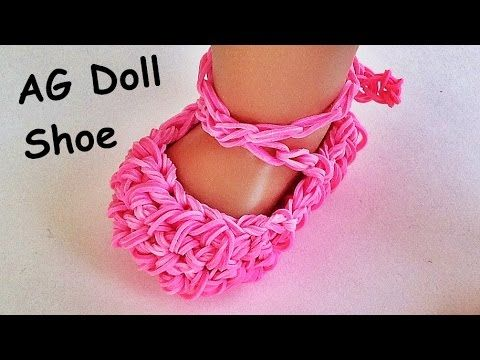 Rainbow Loom / American Girl Doll shoes / Ballet slippers Made with Loom...