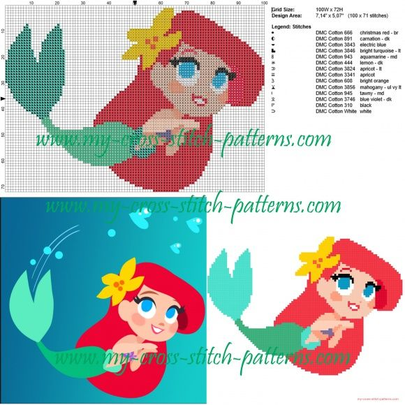 Ariel chibi cross stitch pattern