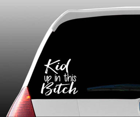 """BABIES UP IN THIS BITCH Decal Sticker 4/"""" or 6/"""" Black//Yellow Baby on Board Car"""