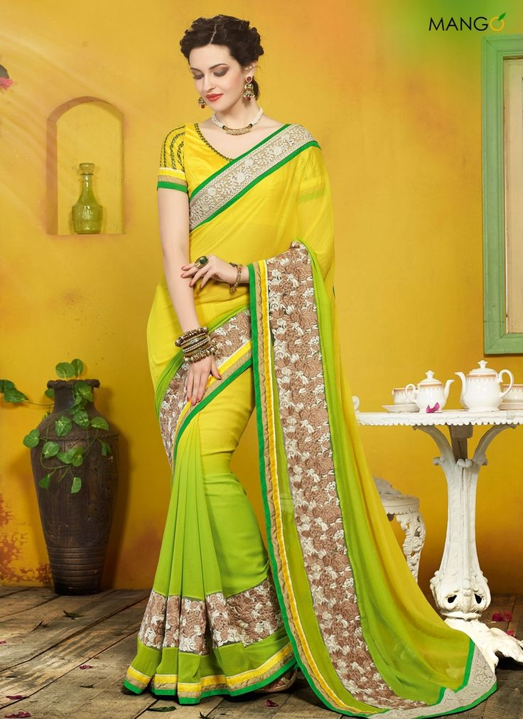 BLOOMING YELLOW AND GREEN DESIGNER SAREE  CODE:-6211 PRICE:-2804/-
