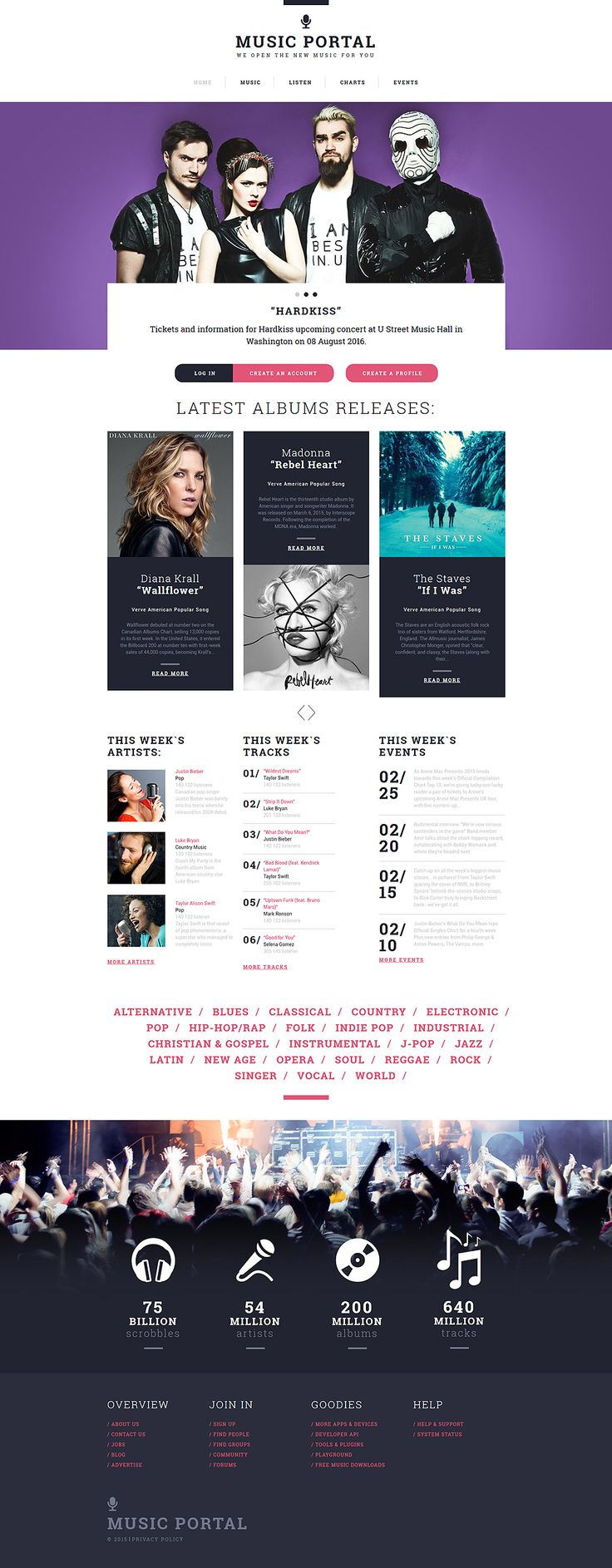 Music Portal Responsive Website Template #55566