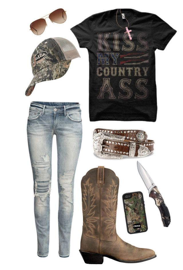 """""""Redneck"""" by baileyjade ❤ liked on Polyvore featuring H&M, Ariat, Blazin Roxx, OtterBox, Justin Boots and Rayban"""