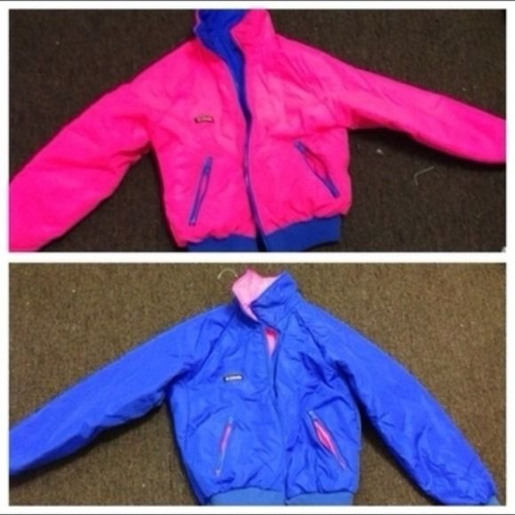 Vintage reversible columbia coat Bomber jacket/ coat Columbia reversible. Limited edition.. Too big:( comment before purchasing Columbia Jackets & Coats