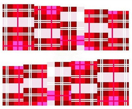 Water Transfer Nail Art Stickers Decal Elegant Red Pink White Grid Plaids Design DIY French Manicure