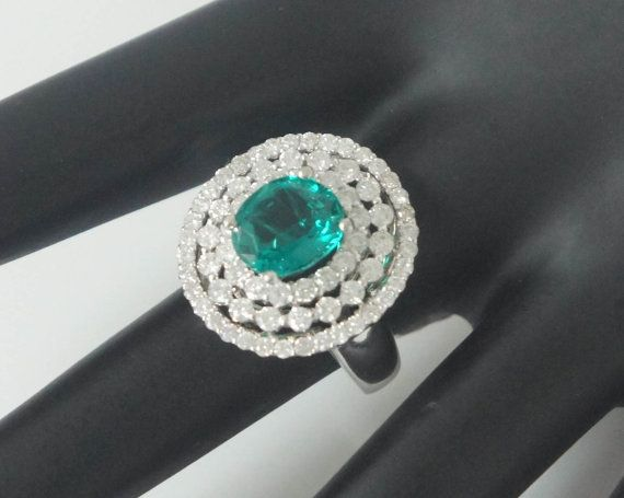 Emerald & White Diamond Cocktail Ring 18K White Gold on Etsy, $2,595.00